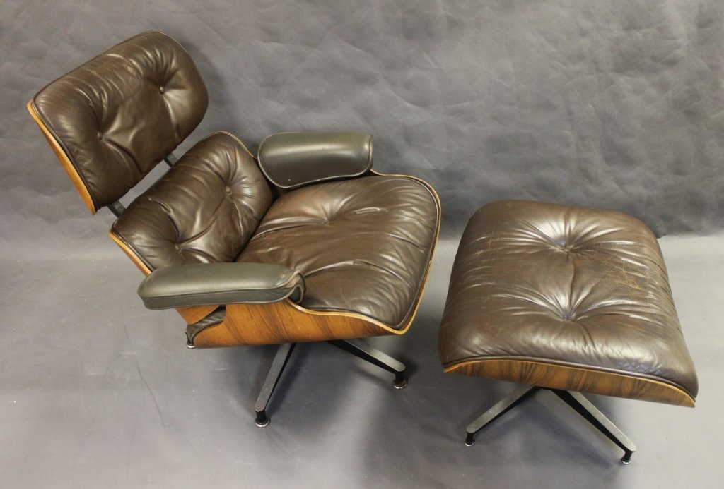 150: Herman Miller Leather & Rosewood Lounge w/ Ottoman
