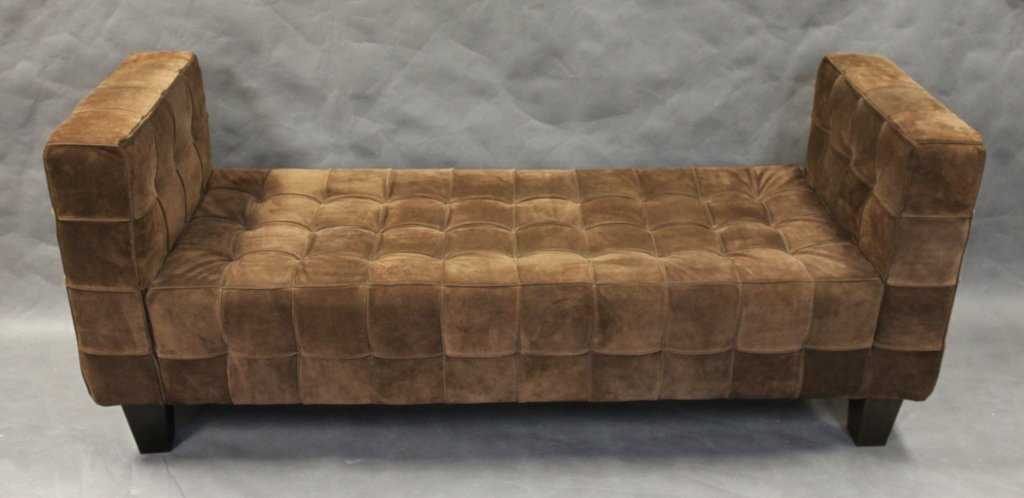 179 dark brown seude leather sette backless sofa