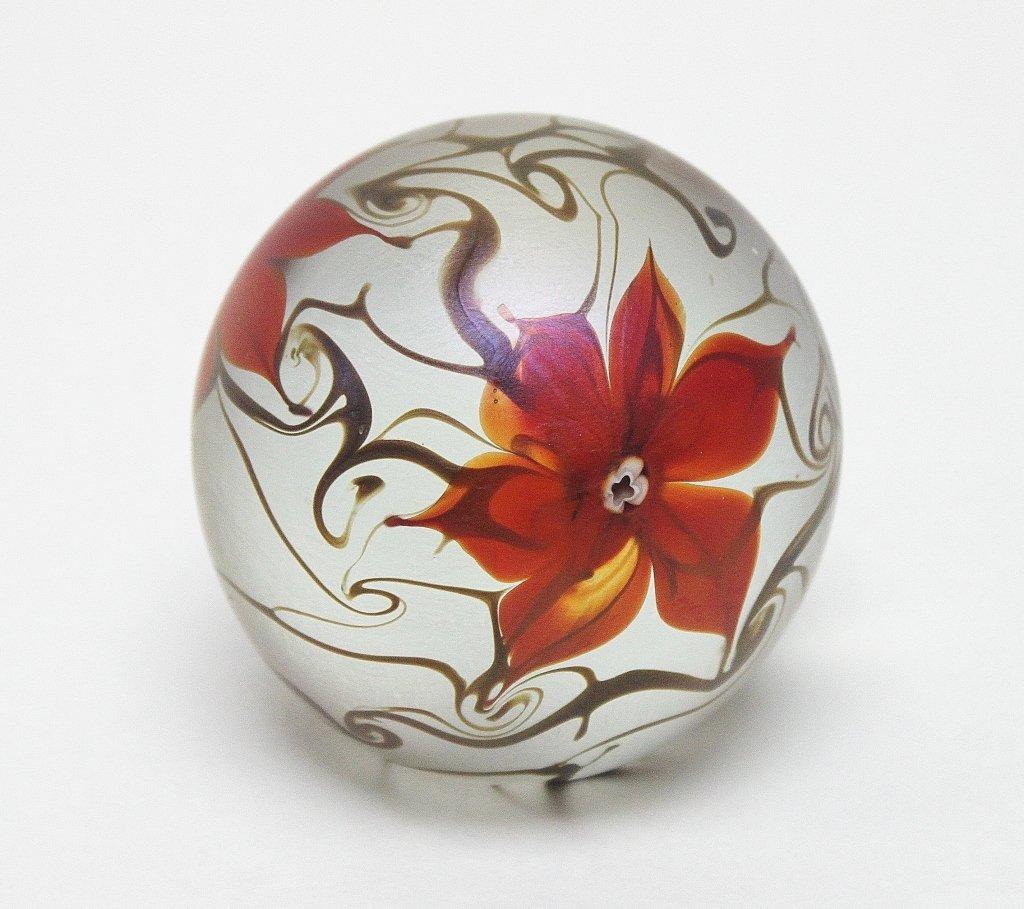 5: Vandermark Floral Art Glass Paperweight