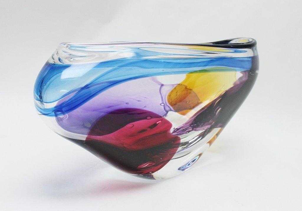 7: Leon Applebaum Art Glass Vase - 3