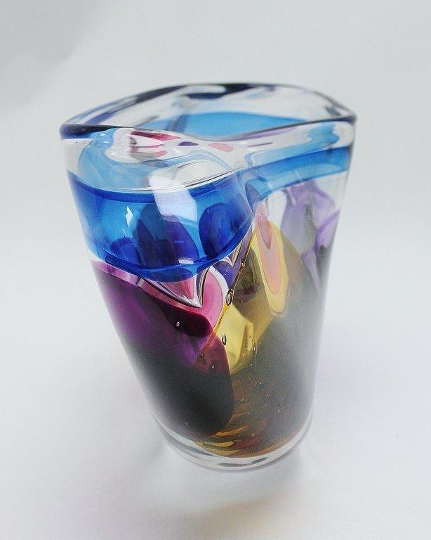 7: Leon Applebaum Art Glass Vase - 6