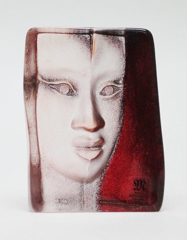 9: Mats Jonasson Art Glass Face Sculpture