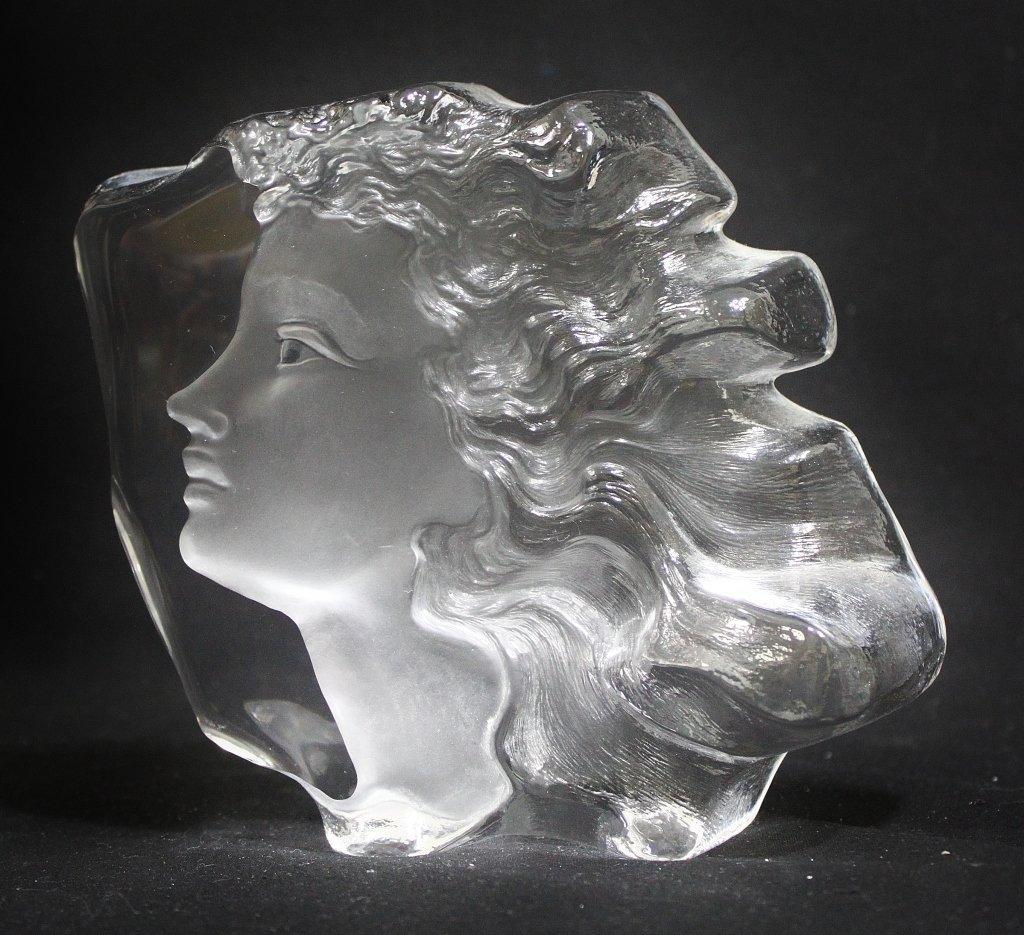 10: Mats Jonasson Art Glass Sculpture of a Face