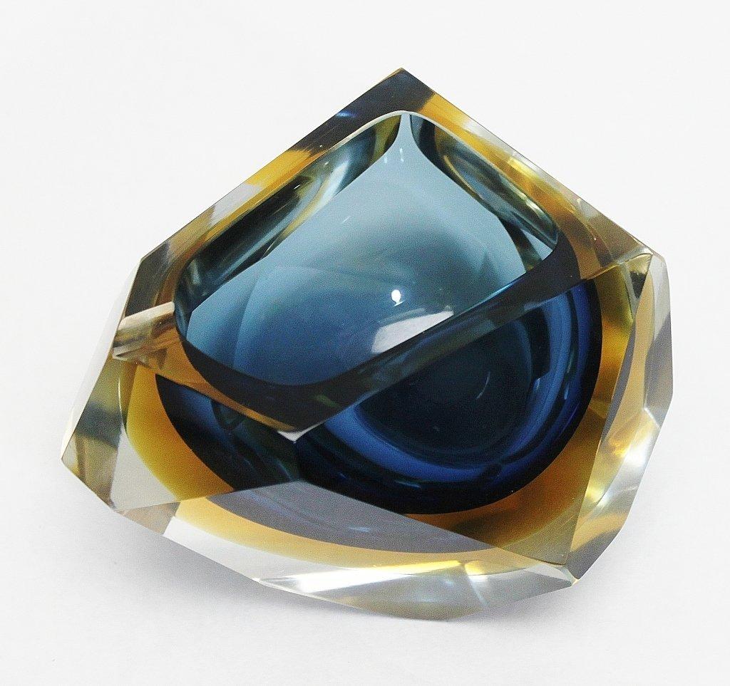 24: Geometrical Blue & Amber Cut Murano Glass Ashtray