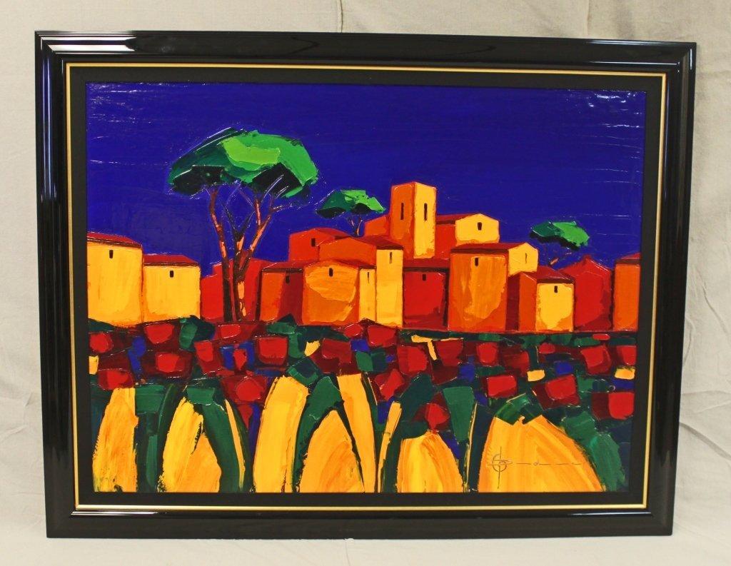 """45: Oil on canvas """"Village Jaunt"""" sig. Didier Chretien"""
