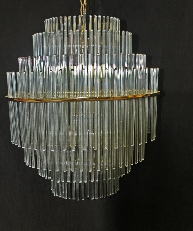 94 Lightolier Brass Frame Amp Glass Rod Chandelier