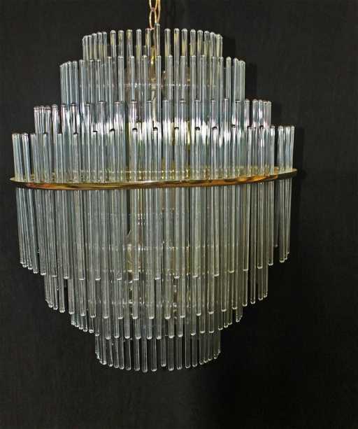94 lightolier brass frame glass rod chandelier audiocablefo