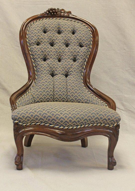 19thC Victorian Carved Mahogany Nursing Chair