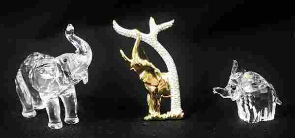(3) Swarovski Crystal Elephants