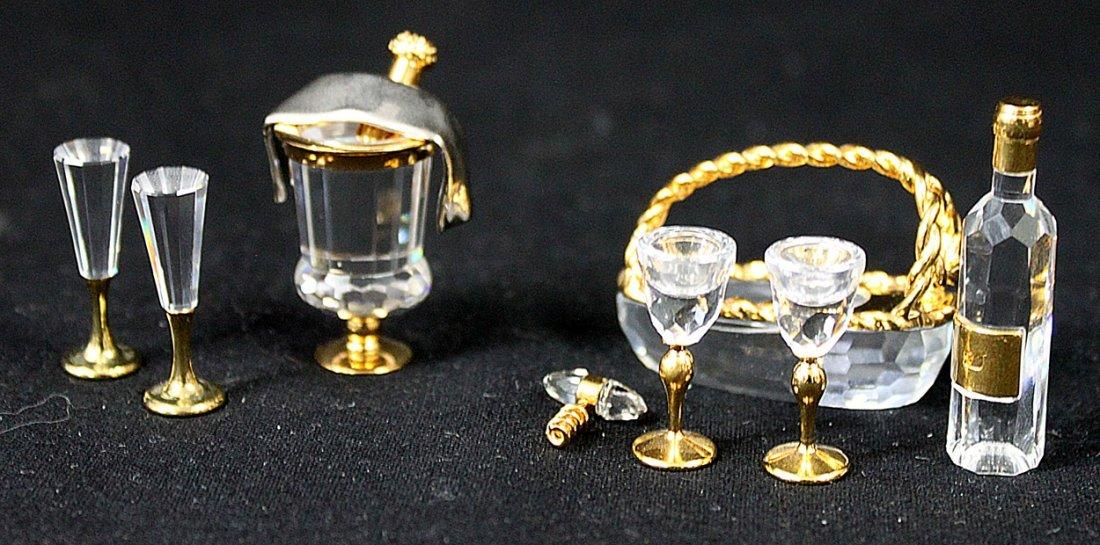 336: (2) Swarovski Crystal Memories Champagne and Wine - 2