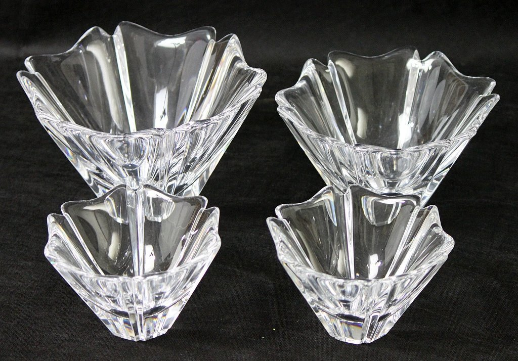 "4: (4) Orrefors ""Orion"" Six-Sided Crystal Bowls"