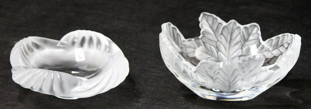 8: (2) Lalique Partly Frosted Formed Crystal Dishes