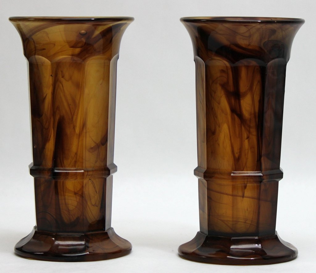 17: (2) Italian Cast Art Glass Vases