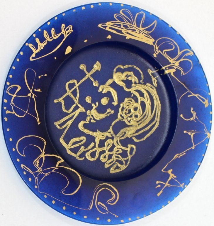 "20: Salvador Dali for Daum Blue Patte De Verre"" Plate"""