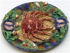 147 Minton Palissy English Majolica Plate w Crab