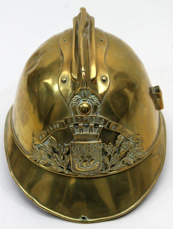 181: Antique Brass French Fire Brigade Helmet