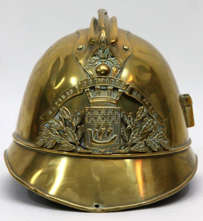 181: Antique Brass French Fire Brigade Helmet - 2