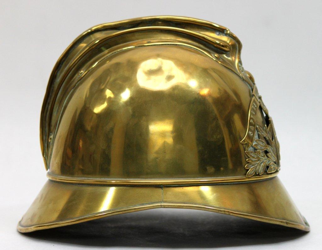 181: Antique Brass French Fire Brigade Helmet - 3
