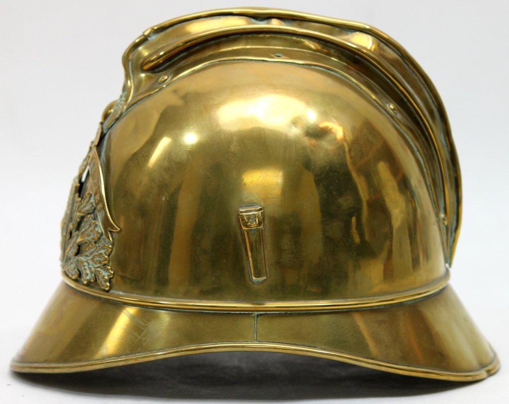181: Antique Brass French Fire Brigade Helmet - 5