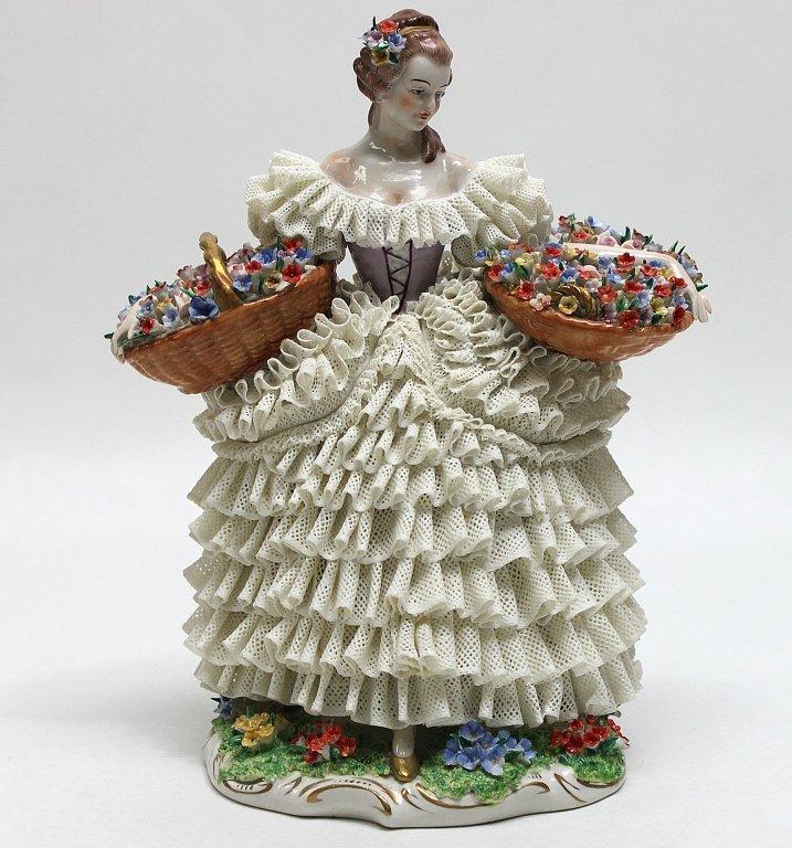 245: Sitzendorf Dresden Porcelain Lace Figurine