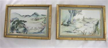 125: (2) Qing Chinese Hand-painted porcelain Tiles