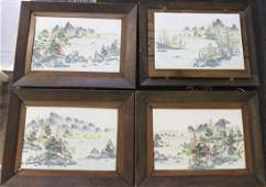 126: (4) Qing Chinese Painted Landscapes On Porcelain