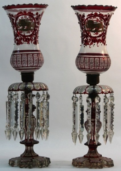 210: (2)19th Century Persian Glass and Crystal Lusters