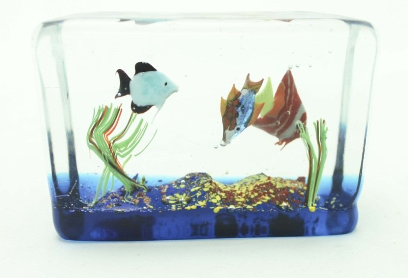 Murano Art Glass Aquarium Block