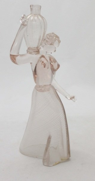 Murano Art Glass Lady w/Vase Figural
