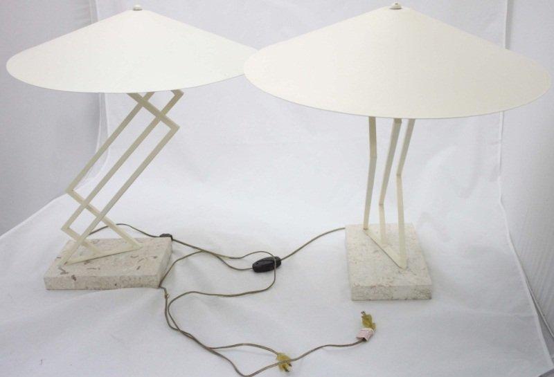 (2) Mid-Century Travertine Base Lamps