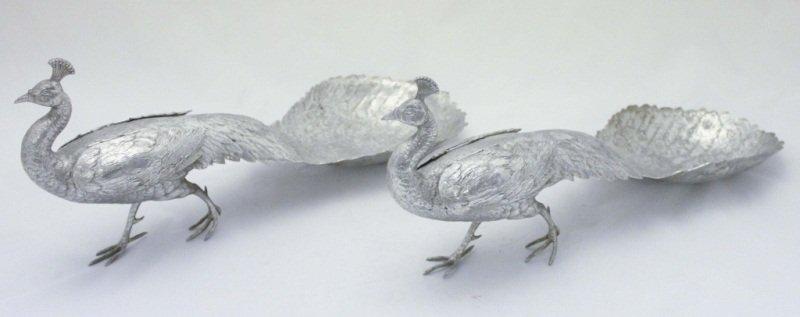 (2) Aluminum Peacock Serving trays