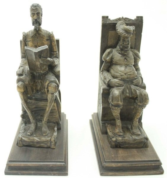 Don Quixote & Sancho Panza Wood Carved Bookends