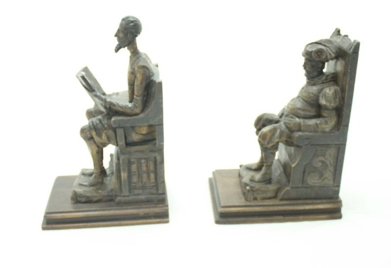 Don Quixote & Sancho Panza Wood Carved Bookends - 2