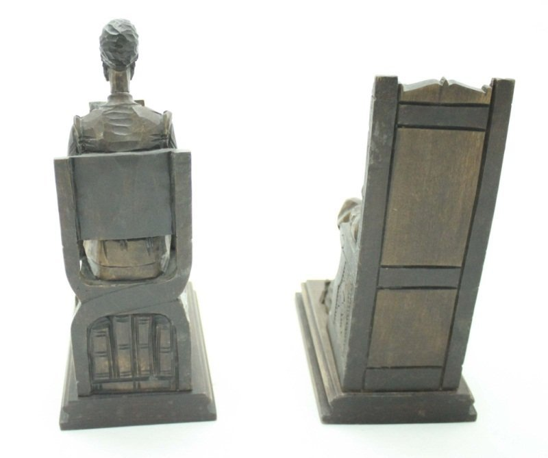 Don Quixote & Sancho Panza Wood Carved Bookends - 3