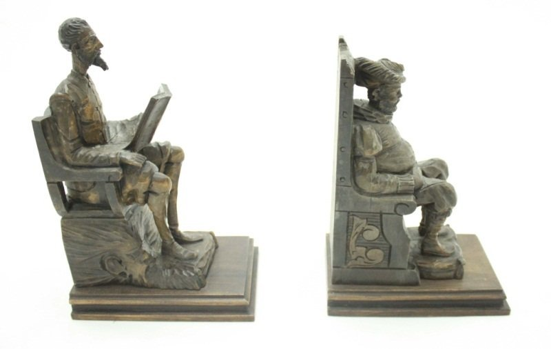 Don Quixote & Sancho Panza Wood Carved Bookends - 4
