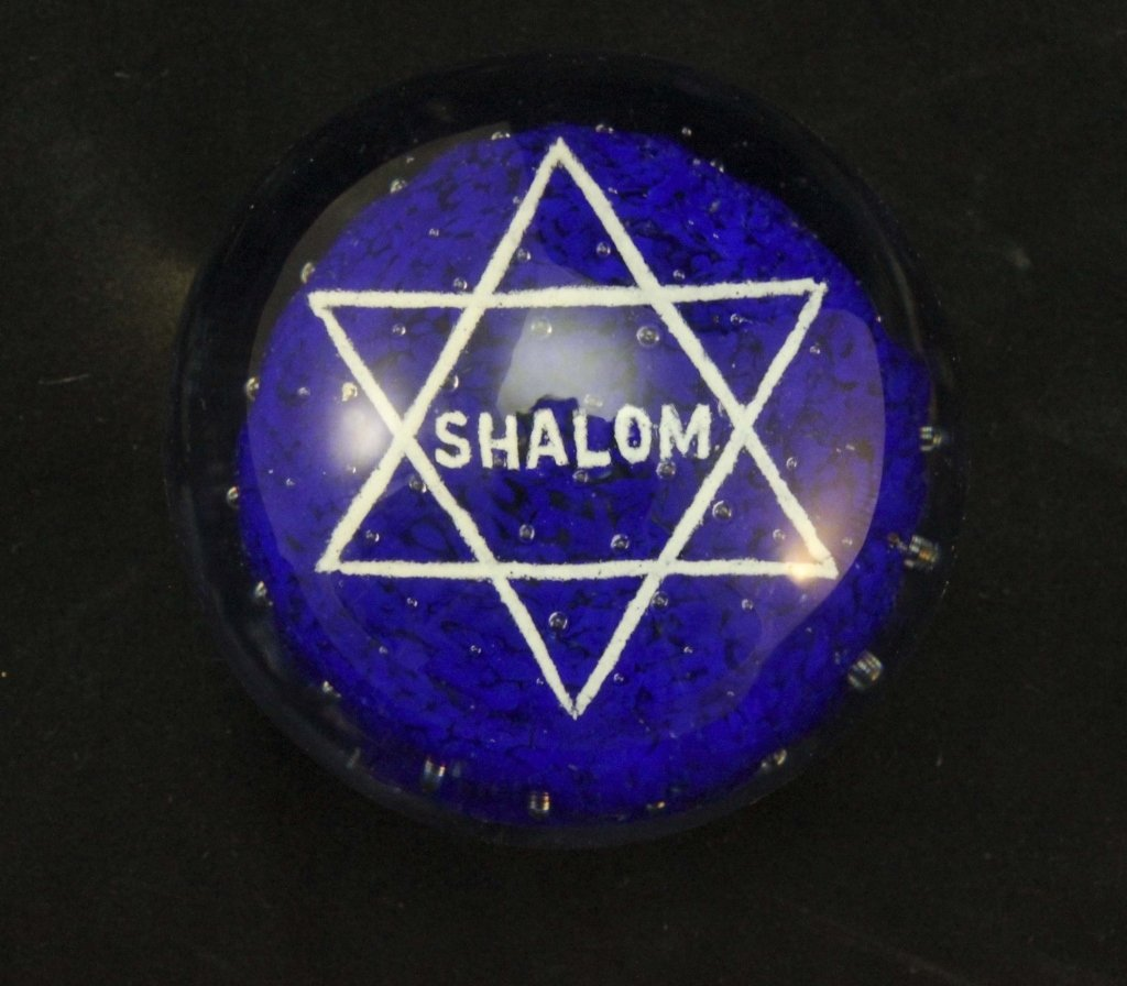 "John Gentile ""Shalom"" Glass Paperweight"