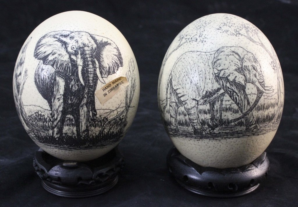 (2)Elephant  Decorated Carved African Ostrich Eggs