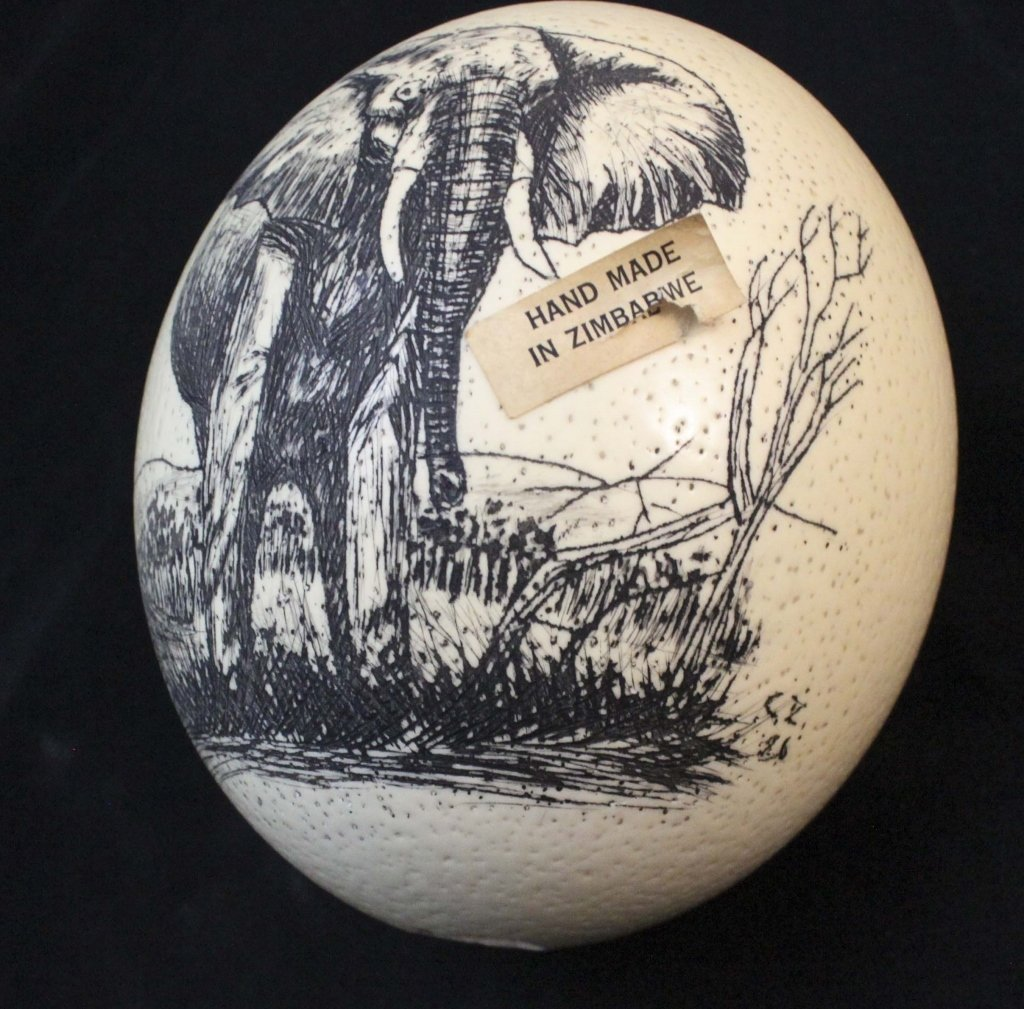 (2)Elephant  Decorated Carved African Ostrich Eggs - 5