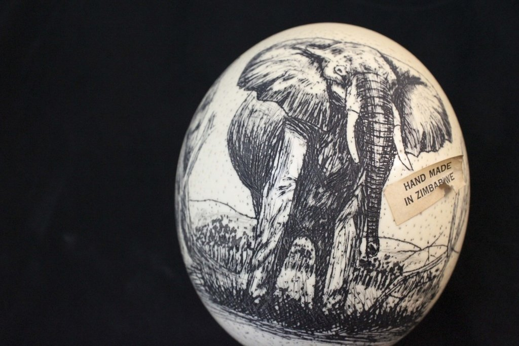 (2)Elephant  Decorated Carved African Ostrich Eggs - 7
