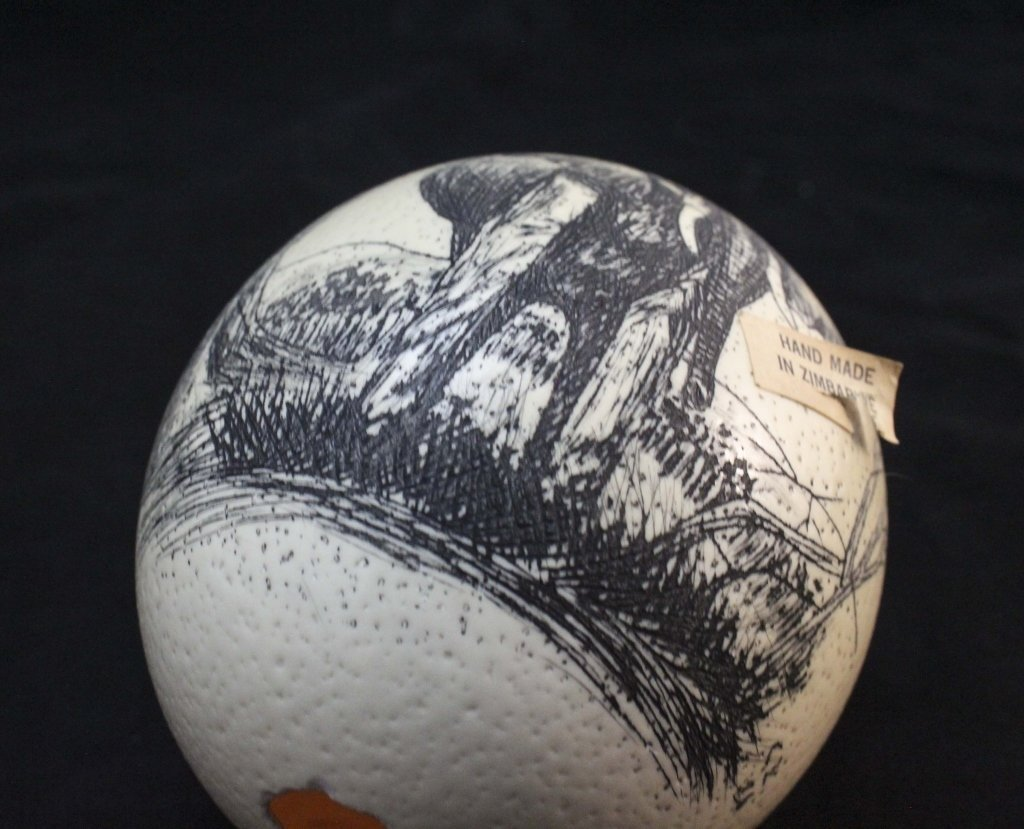 (2)Elephant  Decorated Carved African Ostrich Eggs - 8