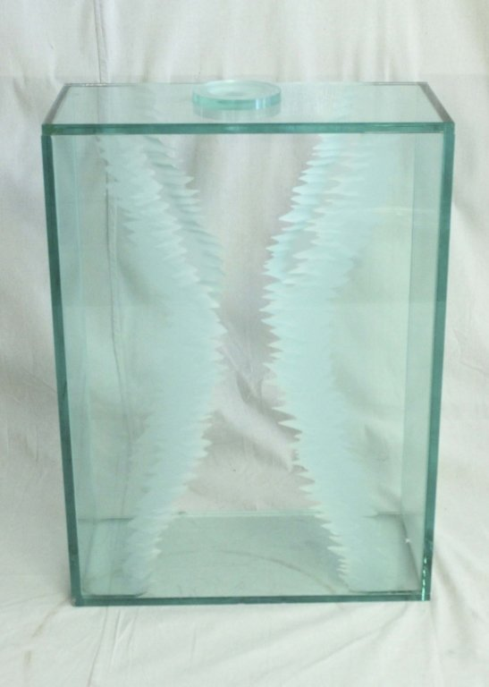 Frosted & Cut Art Glass Display Pedestal