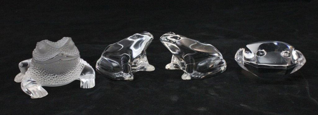 Lalique, Baccarat, Val St. Lambert crystal frogs