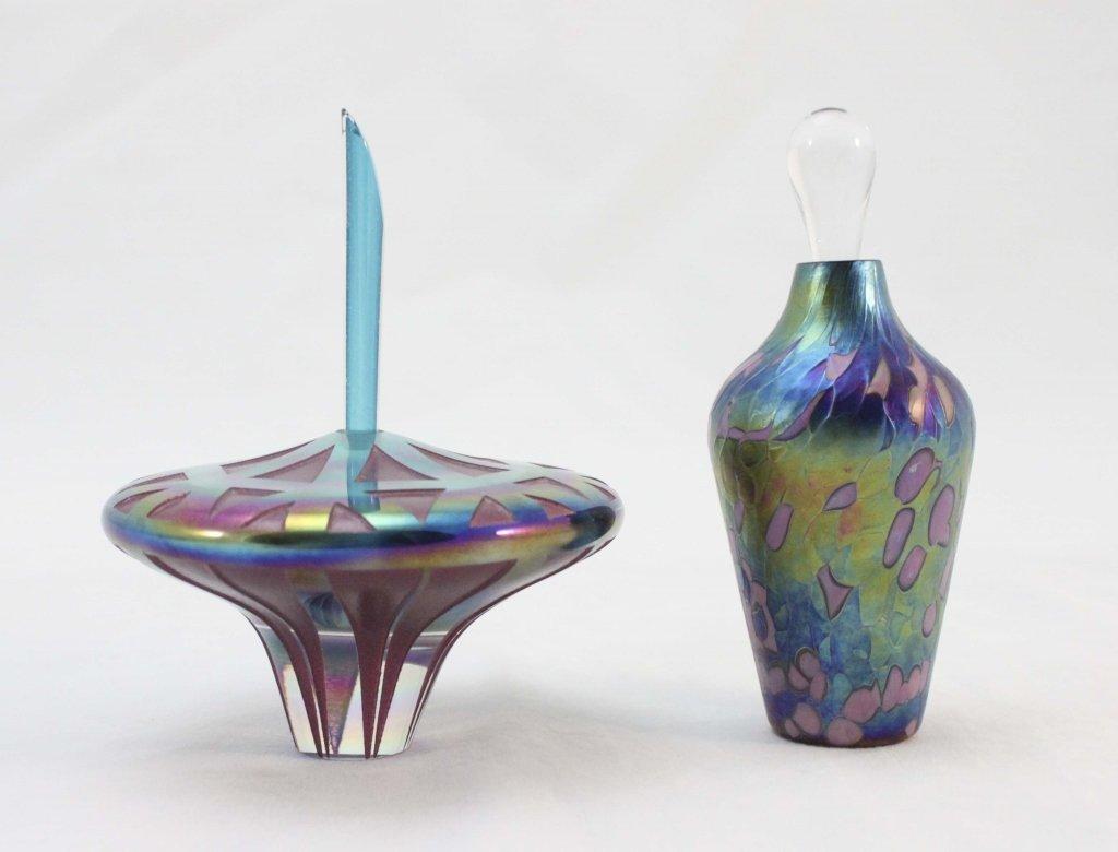 (2) Signed Iridescent Art Glass Perfume Bottles