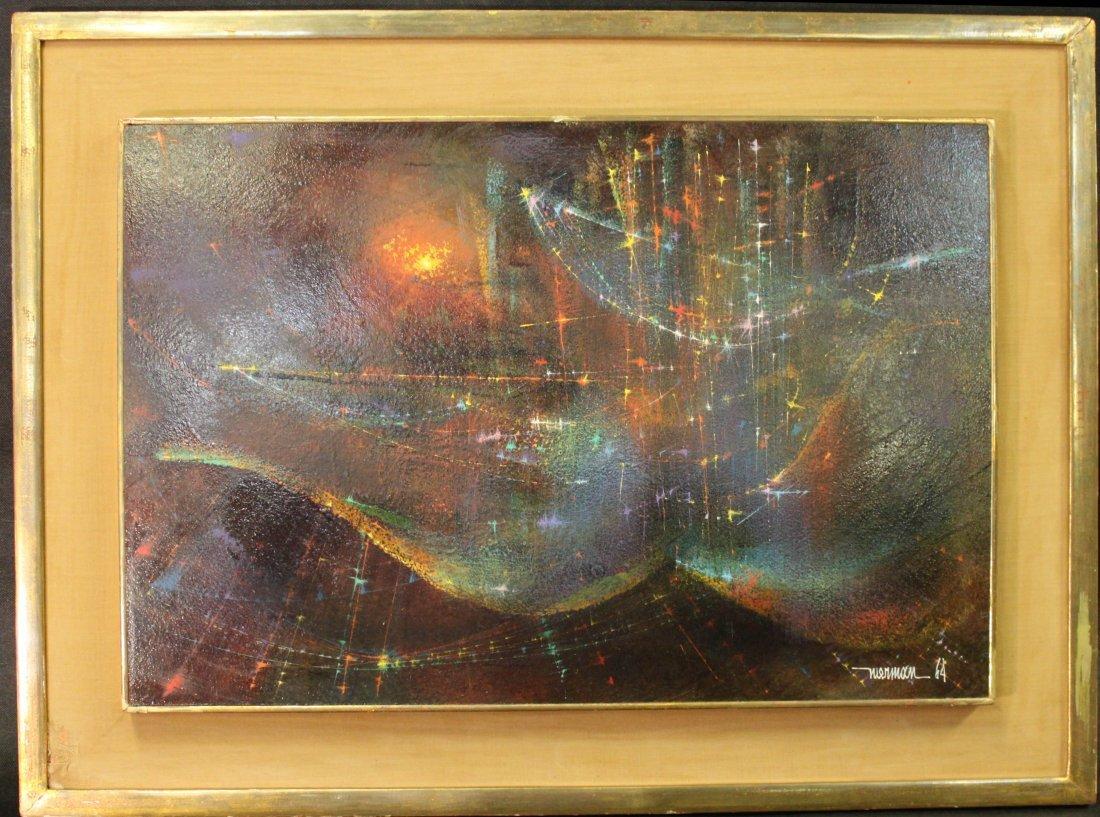 Leonard M. Nierman Signed Abstract Oil on Board