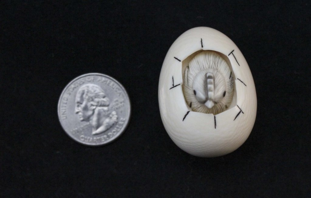 Japanese Carved Ivory Netsuke Egg & Hatching Chick - 8