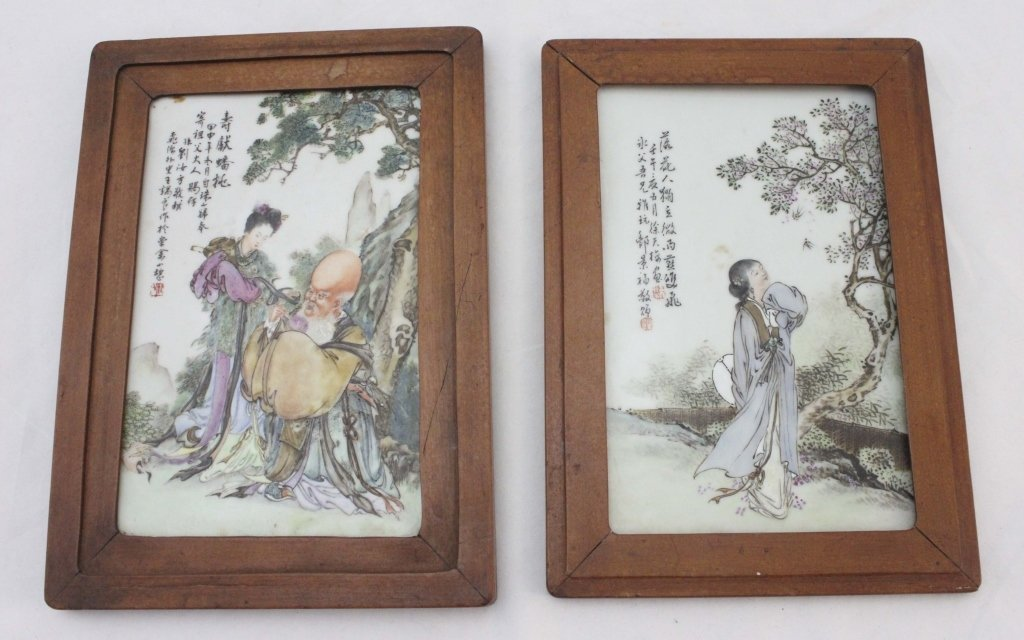 (2)Qing Dyna Oriental Hand Painted Porcelain Tiles