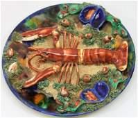 Minton Palissy English Majolica Plate w Lobster