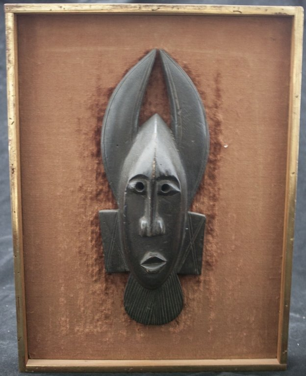 19/20th C African Ligbi Tribe Wooden Mask, Mounted