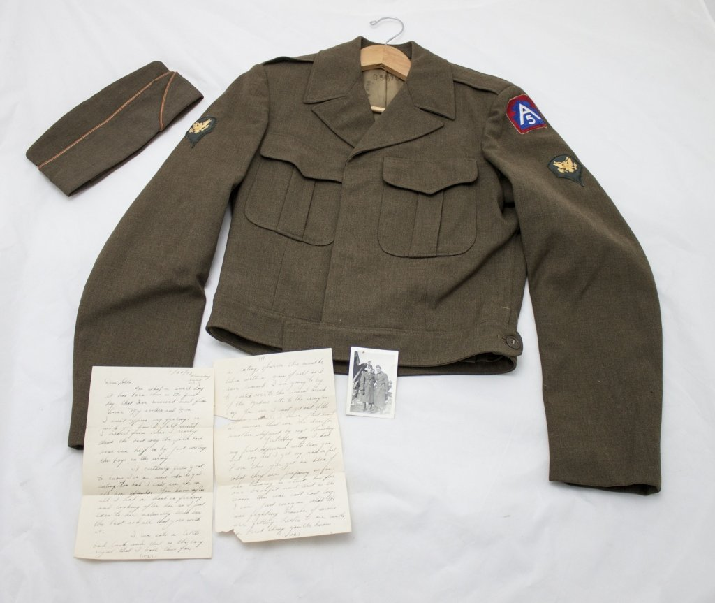 WWII 5th Army Jacket &Cap, Photo & Personal Letter