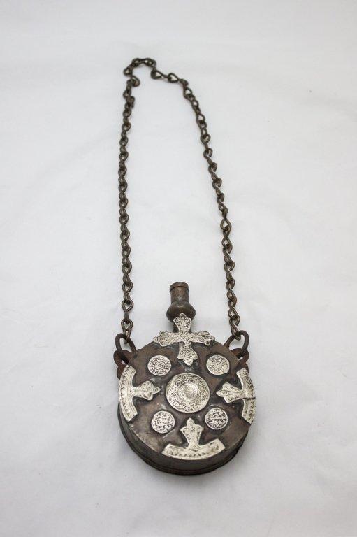 Bronze & Sterling Silver Powder Flask